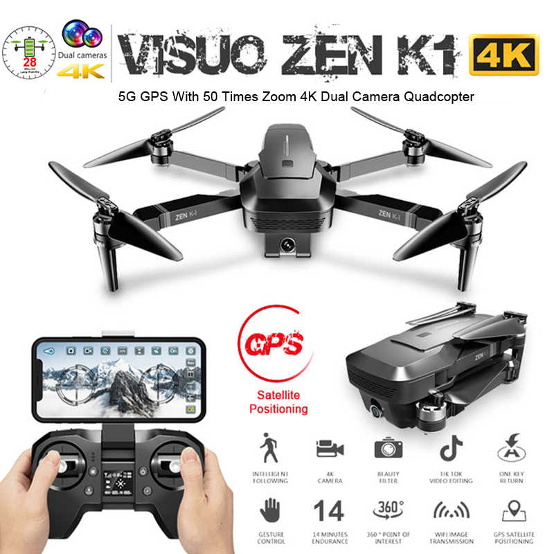 Visuo Zen K1 GPS Drone dengan Dual Kamera 4K 50 Kali Zoom 5G Wifi FPV Optical Flow Brushless RC Quadcopter Helikopter Mainan Vs F11