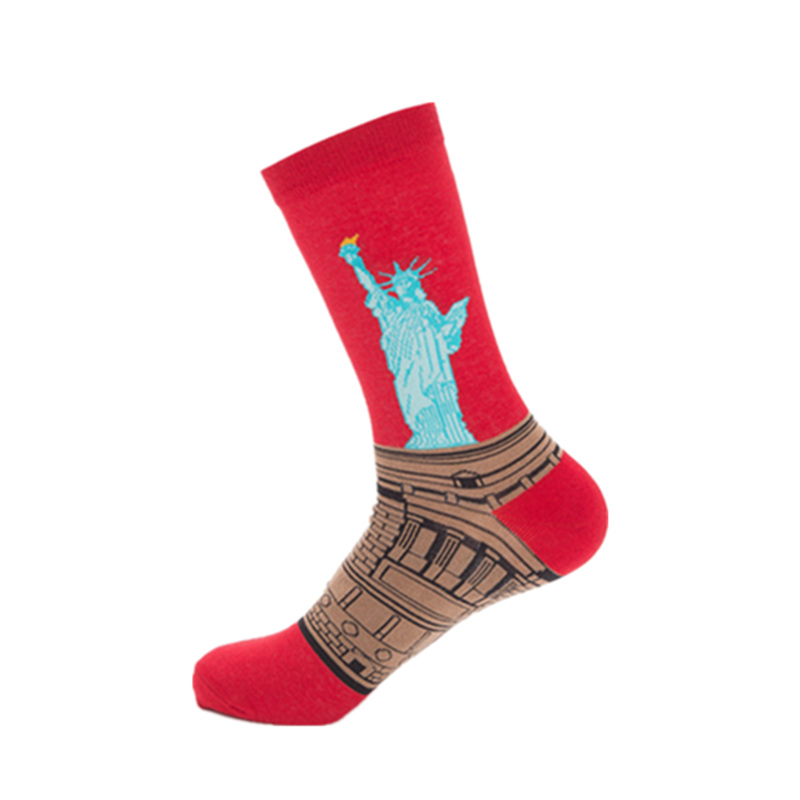 Casual combed cotton happy socks men oil paintings series statue of liberty funny socks man fashion couples art sock