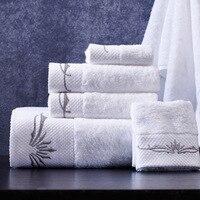 3 pièce towel set hôtel blanc haute qualité brodé towel salle de bains main towel coton pour adultes livraison gratuite