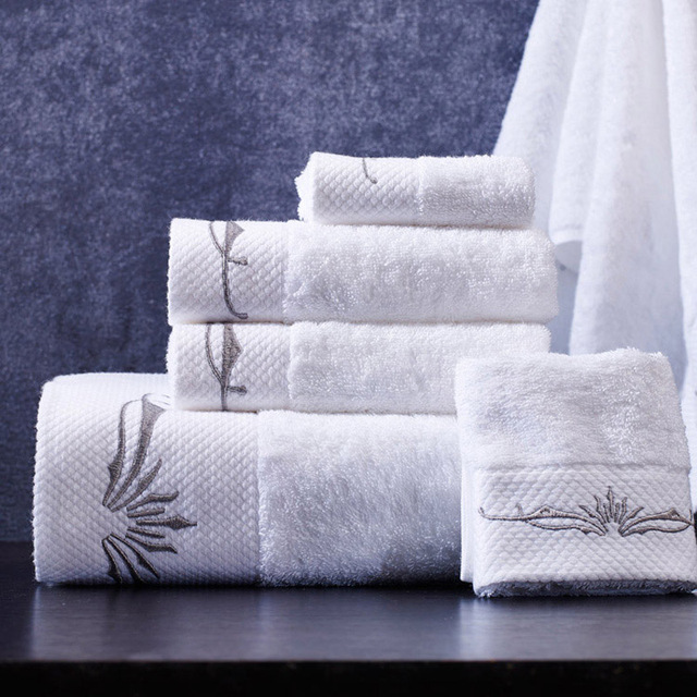3 piece towel set hotel white high quality embroidered towel bathroom hand  towel cotton for adults