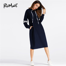 ROMWE Navy Pocket Varsity Striped Hoodie Dress Women Casual 2019 Autumn Hooded Long Sleeve Clothing Knee Length Sweatshirt Dress(China)