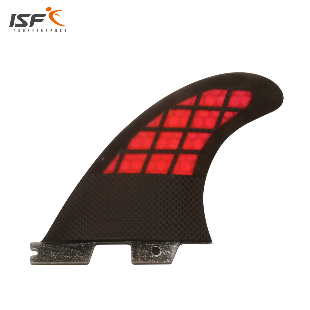 New chegou tira de fibra de carbono favo de mel vermelho ii quilhas de surf barbatanas aletas prancha fcs thruster fin set (3 peça) M5 Barbatanas de Surf