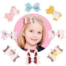 New Girls Double Teeth Clip Hair Bow Children Princess Glitter Bows Clips Handmade Hairpins Cute Kids Headdress 15pcs/lot