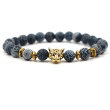 Vrui Fashion Lion Head Bracelet Buddha beads Bracelets Bangles Charm Natural Stone For Men Women Bead Jewelry Gifts