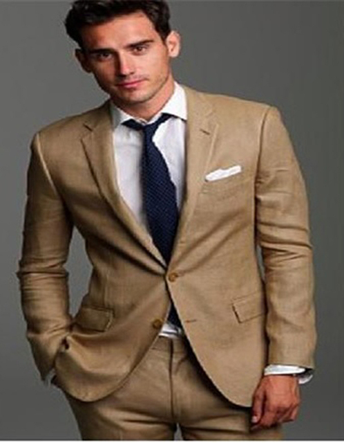2018 Handsome Tuxedos for Men Beige Wedding Suits for men two ...