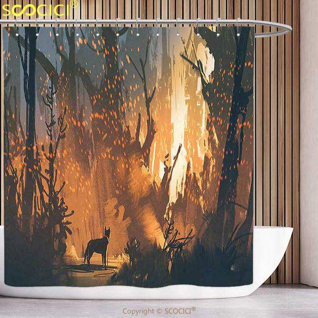 Decorative Shower Curtain Mystic House Decor Lost Dog In Illuminated Forest Mystical Lights Over Trees Adventure Spooky