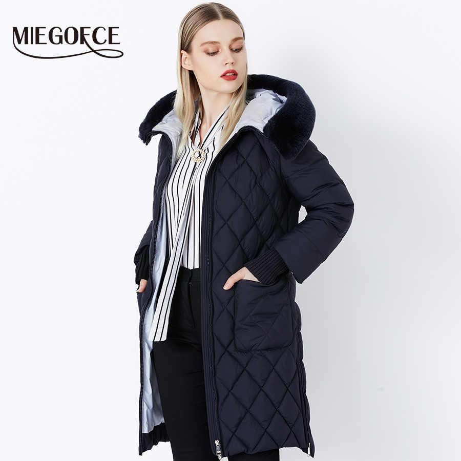 MIEGOFCE 2019 Новая коллеция от дизайнеров пуховик зимний женский настоящий меховой воротник женская парка пальто для женщин био-пух женских стильная модель