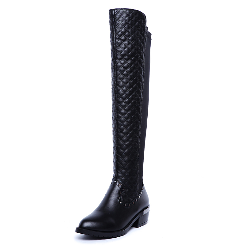 ФОТО High-quality Women Over the Knee Boots Nice Round Toe Square Heels Boots Elegant Black Shoes Woman US Size 3.5-10.5