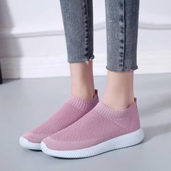Rimocy Большие размеры из дышащего сетчатого материала женские кроссовки 2019 Весна-осень без шнуровки на платформе вязание на плоской подошве