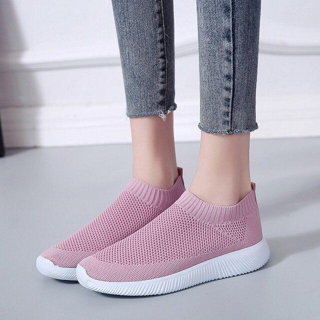 Rimocy плюс размер дышащие кроссовки из дышащего сетчатого материала для женщин 2019 Весна-осень, без застежек, на платформе, трикотажная обувь на плоской подошве; мягкая прогулочная обувь для женщин
