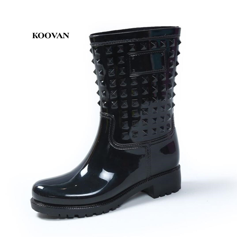 Koovan Rain Boots 2017 Fashion Rivets Colorful Women Rain Boots Warm Non-slip Rain Boots For Women New Product Promotion
