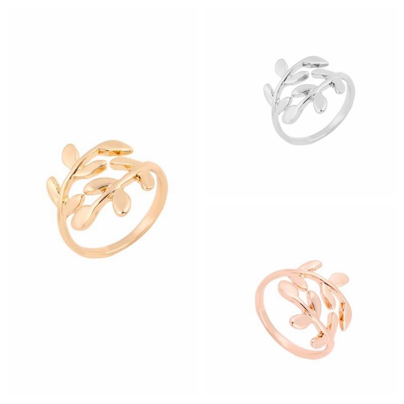 10 Stücke Kostenloser Versand Gold/silber/rose-gold Lorbeerblatt Ringe Einstellbare Blatt Form Fingerring Jz068 Angenehm Zu Schmecken