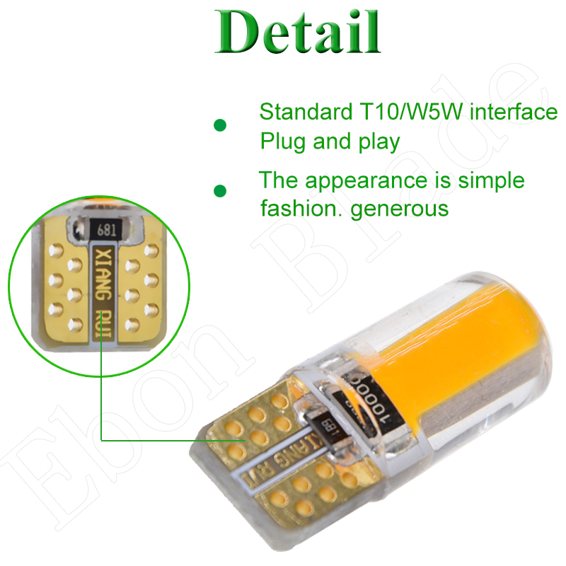 Image 5 - 2 X Yellow Amber Led T10 W5W COB Car LED Lighting Marker Lamp Interior Side Light Warning Parking Clearance Bulb Lights 12V Auto-in Signal Lamp from Automobiles & Motorcycles