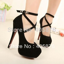 Free Shipping 2015 Summer Women's Sexy Pumps Vintage Red/Black Bottom Platform Strappy High Heels Party Shoes(size 5-8)