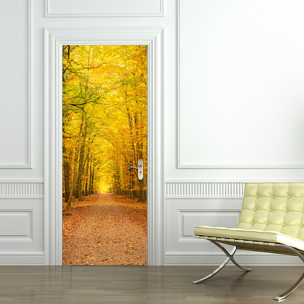 Autumn Leaves Scenery 3D Door Stickers Living Room Bedroom Wall ...