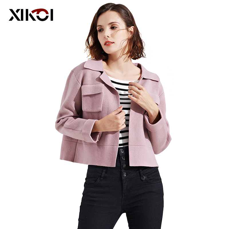Fashion Women Knitted Sweaters Coat Casual V-Neck Full Lady Open Stitch With Pocket Woman Solid Thick Cardigans Sweater