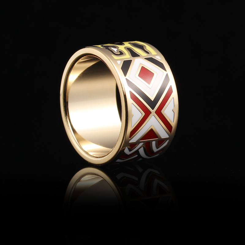 R&X Foreign Trade Exports Europe Fashion Chain Scarves Buckle Stainless Steel Ring Enamel Jewelry Wholesale