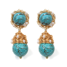 SEVEN GIRL real pearl earrings  freshwater Natural Turquoise drop for women luxury