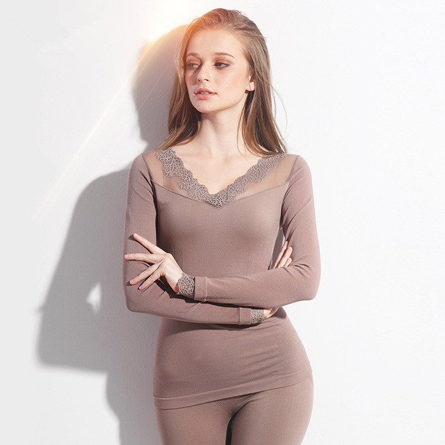 Long Johns For Women Spring Autumn Winter Thermal Underwear Set Underwear Sexy Sleep Top And Bottom Cotton Lace Up Ladies Suits