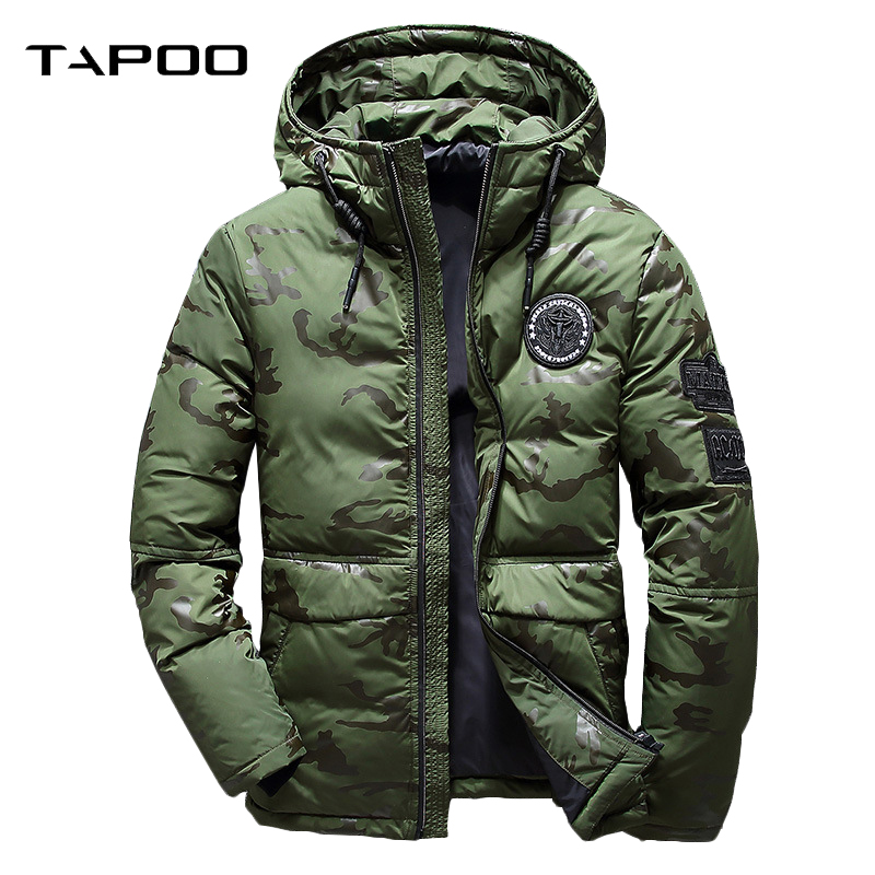2018 Men Winter Feather Jacket men s Hooded camouflage parka jackets white mens thick jacket ultralight