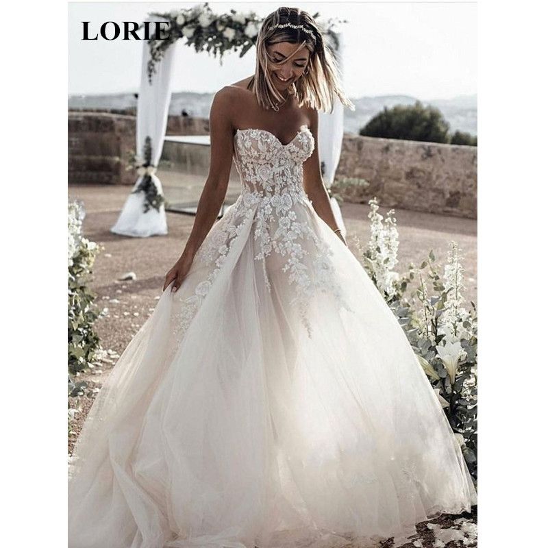 Lorie Lace Wedding Dresses 2019 Appliqued With Lace A Line: LORIE Wedding Dress 2019 Tulle And Lace Appliques Summer