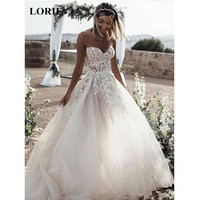 LORIE Wedding Dress 2019 Tulle and Lace Appliques Summer Beach Wedding dress A Line Strapless Open Back Beautiful Bridal Dress