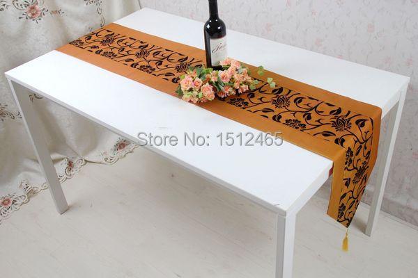 Free Shipping,Brand New Orange Damask Flower Blossom Table Runner Wedding  Home Favors Table Cloth
