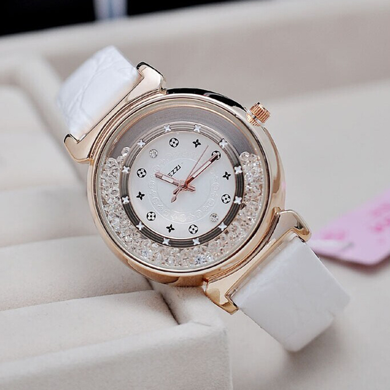 Fashion KEZZI Brand Watch Women Rhinestone Quartz Wristwatch Ladies Leather Strap Watch 5 colors Alloy