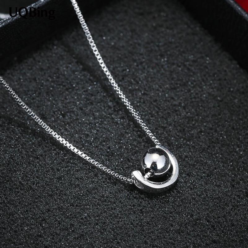 925 Sterling Silver Beads Ball Pendants&Necklaces Pure Sterling Silver 925 Chain Necklace Jewelry Collar Colar de Plata