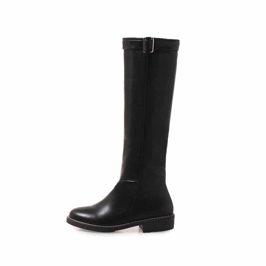 ESVEVA 2019 kadın diz yüksek çizmeler kare topuklu toka yuvarlak ayak PU sonbahar motosiklet botları kadın düşük topuklu ayakkabılar boyutu 34-43