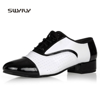 SWYIVY Men Dance Sneakers 2018 New Cowhide Latin Dance Shoes Men Light Weight Ballroom Dance Shoes For Males 3cm/4cm Low Heel