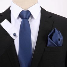 Hot Mens Tie Blue Solid 100% Silk Jacquard Woven Gravata Hanky Cufflink Set For Men Formal Wedding Party Business