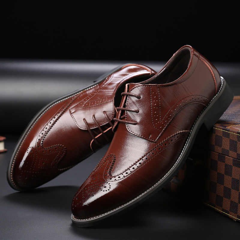 bc7d1f8df06c ... SZSGCN428-2019 New Men Oxford Genuine Leather Dress Shoes Brogue Lace  Up Flats Male Casual ...