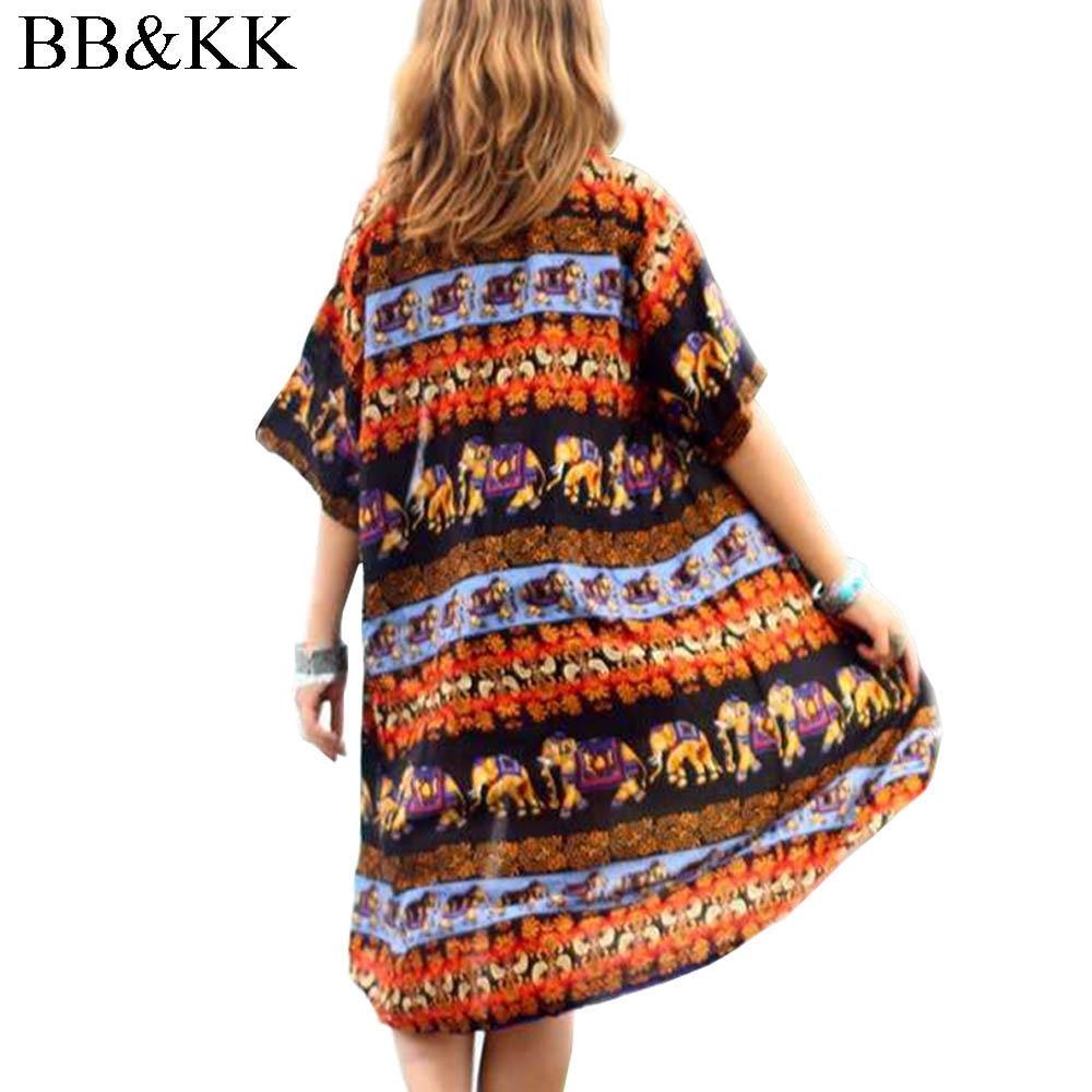 15fedf352750c Women Summer Blouse Fashion Elephant Print 3 4 Sleeve Causal Beach Boho  Kimono Cardigan Long