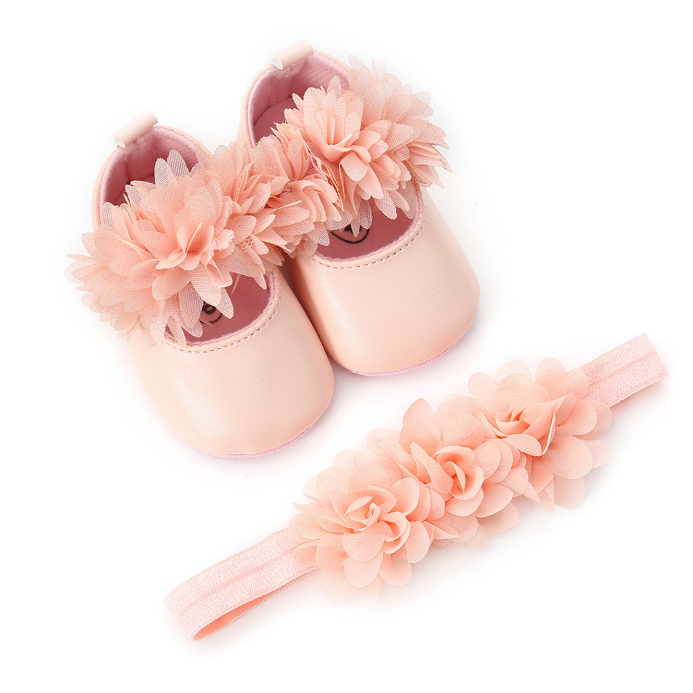 White Pink Bowknot Baby Girl Soft Sole Shoes Toddler Prewalker Baptism Christening Baby Bed Summer Shoes + Headband Set