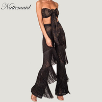 NATTEMAID Brand Summer Lace Women Sets 2 Pieces New Long Pants Suit Strapless Tops Tassel Trousers