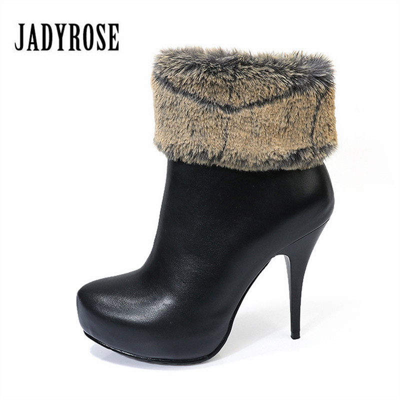 Jady Rose 2018 New Women Winter Rabbit Fur Boots 11CM High Heel Ankle Boots Warm Snow Boot Female Platform Pumps Shoes Woman winter snow boots woman platform ankle boot warm cotton down shoes women s winter snow boots female winte boots