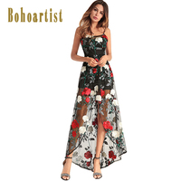 Bohoartist summer woman long dress asymmetrical spaghetti strap slash neck floral print elegant floor length female dress