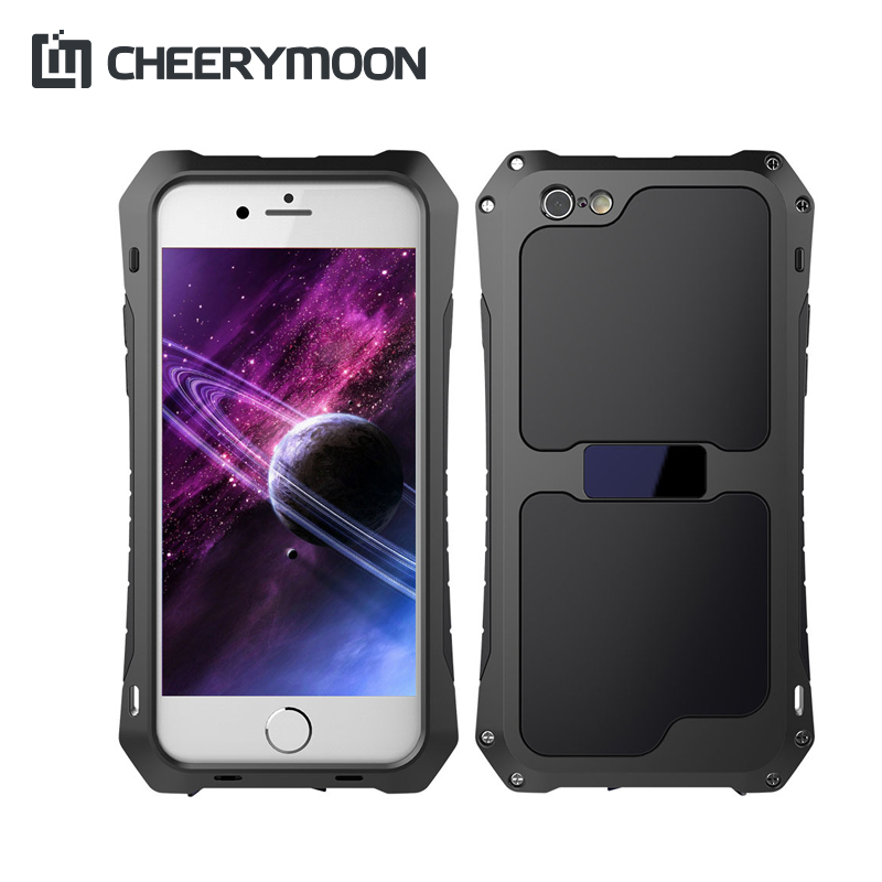 CHEERYMOON Small Pretty Waist 3Anti Aluminum Alloy+Silicone+Glass Heavy Duty Protection Case For iPhone 6S 6 5 5S SE Plus Cover