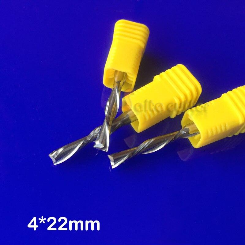 3pc 4x22mm Two flute down-cut spiral endmills, left hand cutting bit for plastic, pvc, acrylic, MDF, Aluminum woodworking bit
