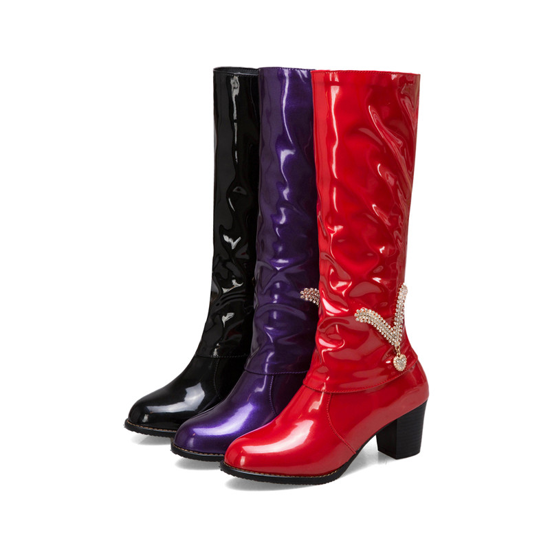 Asumer Donna Donna da Autunno Ball alto Plus alti Rotonda Fashion ginocchio Tacchi viola Rosso donna Inverno Stivali Al Black Scarpe Punta fqrAf