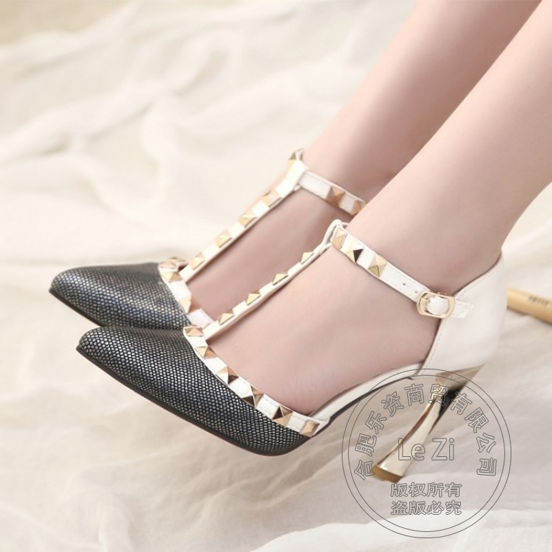 Rivets Hasp T Strap Stiletto Heels Pointy font b Women b font Shoes High Heel Female