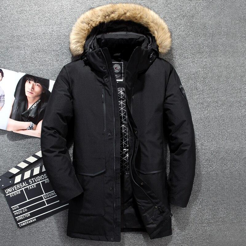 Tace & Shark medium long coat men's down jacket Russia winter jacket for men fur collar thick windbreaker duck down jacket men-in Down Jackets from Men's Clothing    3