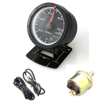 цена на 60MM 2.5Inch 12V 10 x 100KPa Universal Non Smoke Oil Pressure Car Gauge Meter Black Shell with Red & White Lighting