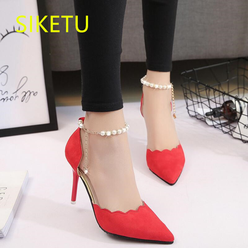 SIKETU Free shipping Spring and autumn women shoes Fashion high heels shoes summer wedding shoes pumps g242 Suede sandals
