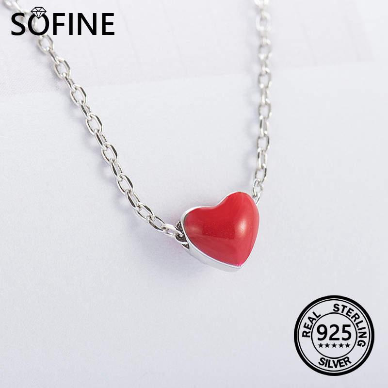 a1f9fb6cf4d0 SOFINE Piros szív Nyaklánc Eredeti 925 Sterling ezüst nőknek Divat ...