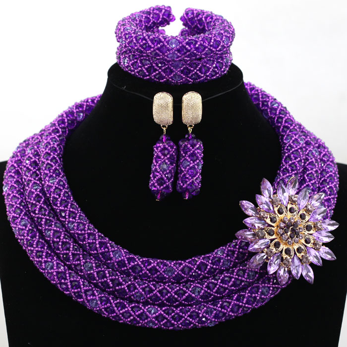 Charming Purple Nigerian Wedding African Beads Jewelry Set Statement Crystal Jewelry Set Purple Beads Set Free Shipping HX815Charming Purple Nigerian Wedding African Beads Jewelry Set Statement Crystal Jewelry Set Purple Beads Set Free Shipping HX815