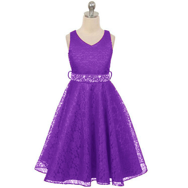 Princess Girl V-neck Sleeveless Sequined Floral Ball Gown Red Party Dresses One Piece Daily Dress for 3 4 6 8 10 12 years 1
