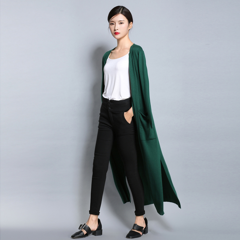 High Quality Wool Long Cardigan With Pockets Female Long Sleeve Ladies Wear New Women's Cashmere Sweater Sueter Mujer D194