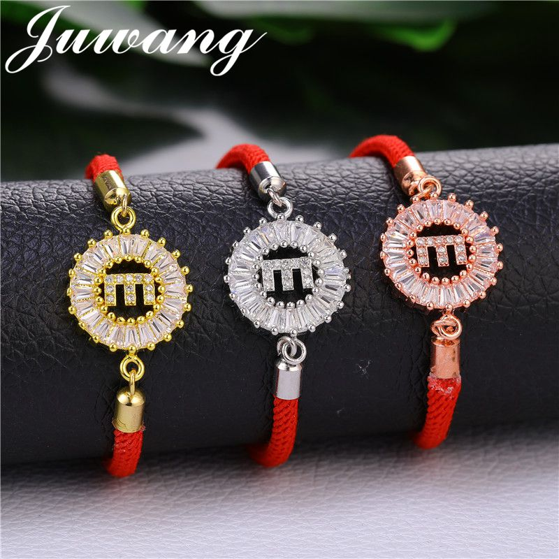 c5eee376f28 JUWANG 1PC Trendy 26 Initial Letters Red Rope Bracelets For Women Girl  Chains Crystal CZ Charms